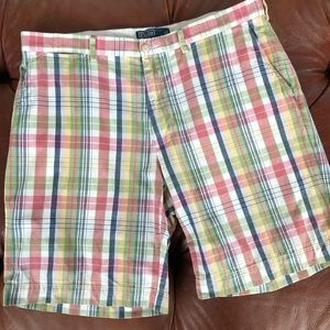 "Polo Ralph Lauren Shorts Plaid Prospect 36 9"" Long"